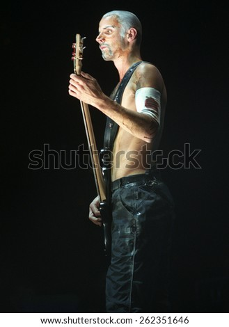 DENVER	OCTOBER 06:		Bassist Oliver Riedel of Rammstein performs in concert October 6, 1998 at McNichols Arena in Denver, CO.