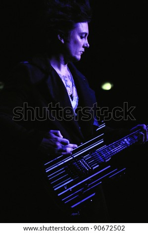 DENVER-OCTOBER 05:Guitarist Synyster Gates of the Heavy Metal band Avenged Sevenfold performs in concert October 5, 2011 at the Comfort Dental Amphitheater in Denver, CO.