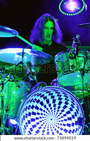 DENVER-OCTOBER 4:	Percussionist Sean Kinney of the Heavy Metal band Alice in Chains performs in concert October 4, 2010 at Red Rocks Amphitheater in Denver, CO.