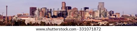 Denver - panoramic view of the city. Denver, Colorado, USA. - stock photo