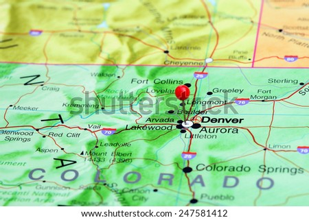 Denver pinned on a map of USA  - stock photo