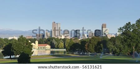 Denver skyline from city park in morning light in summer 2010 - stock photo