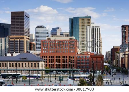 Denver Skyline From 16th Street - stock photo