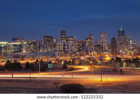 Denver Skyline. Image of Denver Skyline and busy highway in the foreground. - stock photo