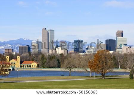 Denver Skyline Spring 2010. Mid-morning light illuminating city. - stock photo