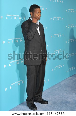 "Denzel Washington at the Los Angeles premiere of his new movie ""Flight"" at the Cinerama Dome, Hollywood. October 23, 2012  Los Angeles, CA Picture: Paul Smith - stock photo"