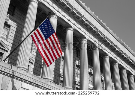Department of commerce washington dc, America.  American flag flying.  - stock photo