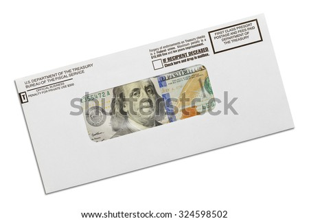 Department of the Treasury Envelope with Money Inside Isolated on White Background. - stock photo