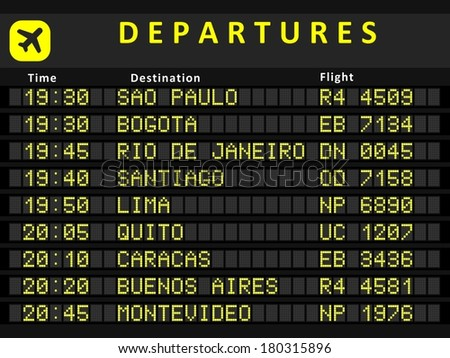 Departure board - destination airports. Busiest airports in South America: Sao Paulo, Bogota, Rio de Janeiro, Santiago, Lima, Quito, Caracas, Buenos Aires and Montevideo.