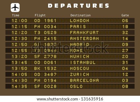 Departure board - destination airports. Europe destinations: London, Paris, Frankfurt, Amsterdam, Madrid, Rome, Munich, Istanbul, Moscow, Zurich, Barcelona and Oslo. - stock photo