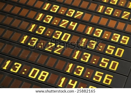 Departure board display at a station - stock photo