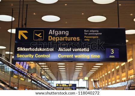 Departure board in Airport of Copenhagen - stock photo