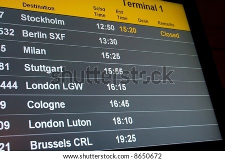 Departure display at on airport - stock photo