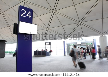 departure gate with rush passenger moving in the airport, shot in asia - stock photo
