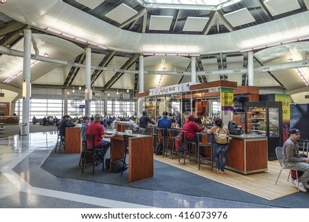 Departure Gates at Louis Armstrong New Orleans International Airport - NEW ORLEANS, LOUISIANA - APRIL 18, 2016