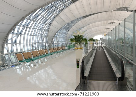 Departure hall of the airport - stock photo