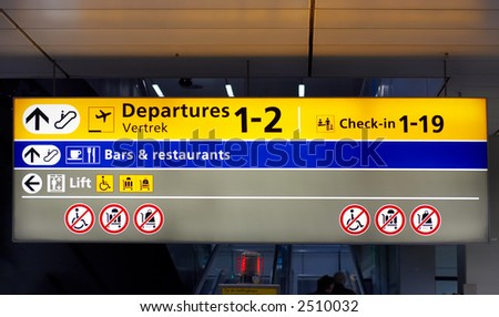 departure sign at airport - stock photo