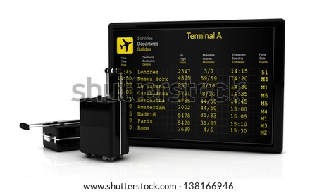 Departures information board flights along and suitcases in 3d on white background