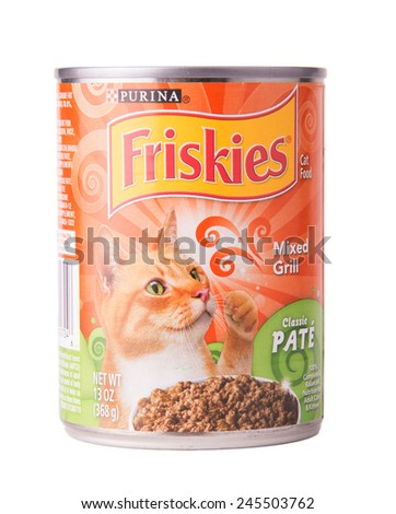 DEPEW, OK, USA - January 19th, 2015: Can of Friskies Mixed Grill cat food. Friskies is a brand owned by Nestle Purina PetCare, St Louis, MO, USA. - stock photo