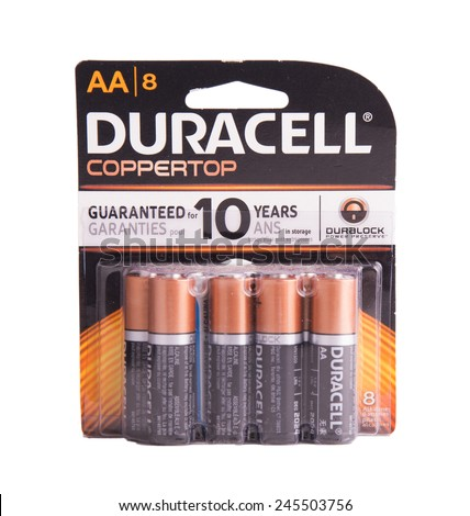DEPEW, OK, USA - January 19th, 2015: 8 pack of Duracell batteries. Duracell is an American brand product line of batteries, owned by Berkshire Hathaway, NE, USA. - stock photo