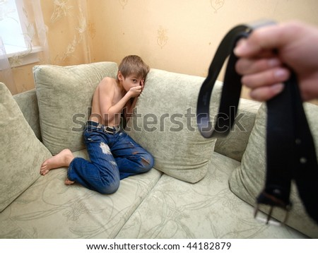 depicting Child Abuse in the family - stock photo