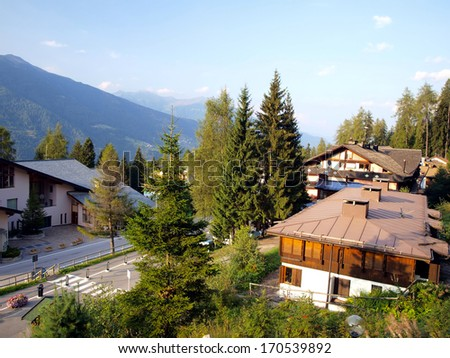 depopulated autumn Folgarida settlement in the Italian Dolomites Brenta built mainly for tourists skiing - stock photo