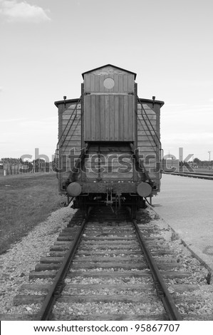 Deportation wagon at Auschwitz Birkenau concentration camp, Poland