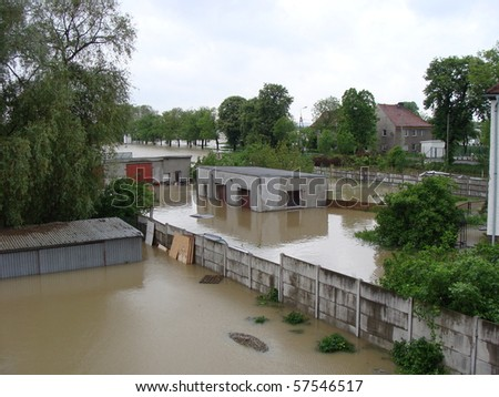 depository drowned by the floods - stock photo