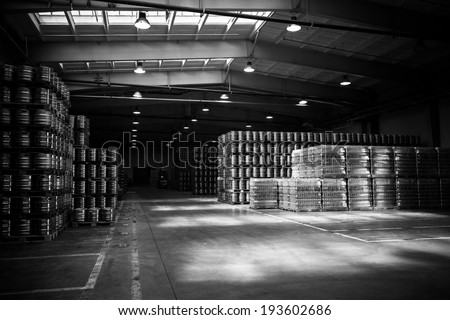 depository inside in a modern brewery, supply - stock photo