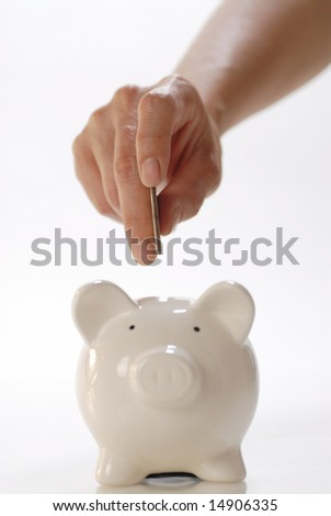 deposits coin in  piggy bank - stock photo
