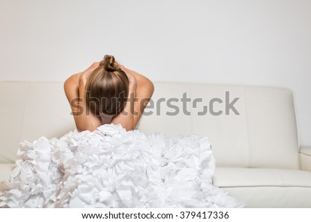 Depressed/Anxious young bride - stock photo