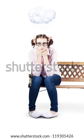 Depressed Business Person In Dorky Glasses Stuck Under A Rain Cloud Weathering A Storm Of Failure - stock photo
