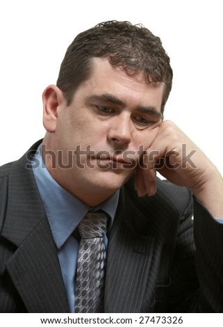 Depressed businessman tired and sleepy on white - stock photo