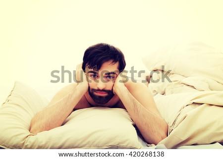 Depressed man bedroom stock photo 420268138 shutterstock - Man bedroom photo ...