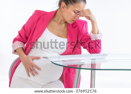Depressed pregnant woman talking with nobody to support  - stock photo