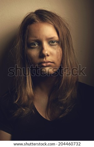 Depressed upset sad teen girl - stock photo