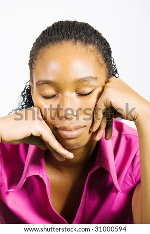 depressed young african woman - stock photo