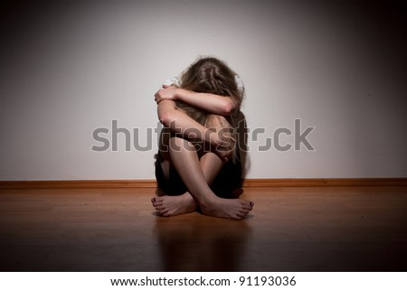 Depressed young lonely woman