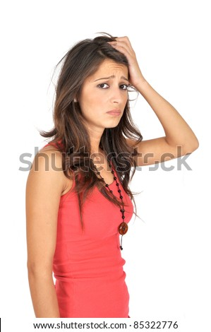 Depressed young woman isolated on white background