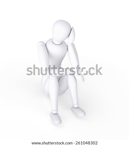 Depression concept, Dummy character  sitting on floor, isolated on white - stock photo