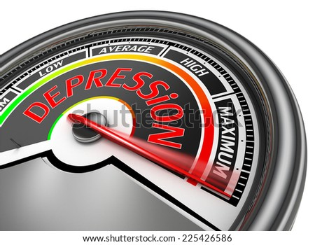 depression conceptual meter indicate maximum, isolated on white background - stock photo