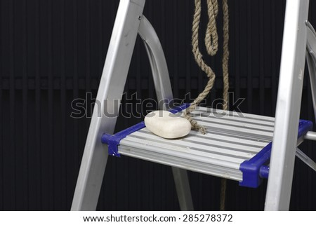 Depression: ladder, rope, soap - stock photo