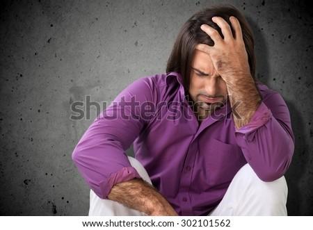 Depression, Sadness, Men. - stock photo