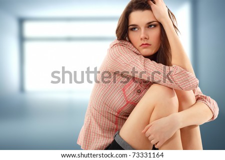 depression teen girl cried lonely in empty room