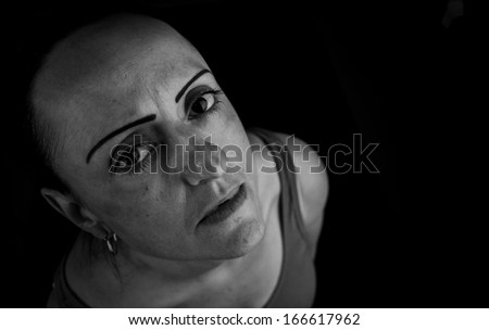 depression, woman thinking black and white with copy space