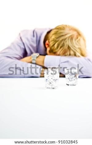Depressive Drunk Businessman - stock photo