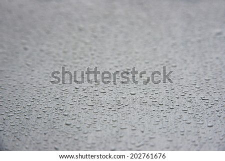 Depth of field raindrops on white background (ideal for unique abstract wallpapers). - stock photo
