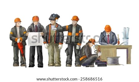 Deputy director, welder, electrician, project manager, architect.  Builders working on construction works illustration - stock photo