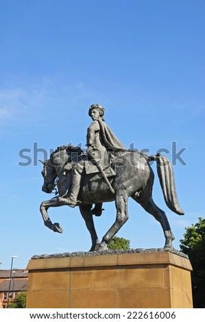 DERBY, UNITED KINGDOM - JULY 17, 2014 - Bonnie Prince Charlie Statue (Charles Edward Stuart 1720-1788) on Cathedral Green, Derby, Derbyshire, England, UK, Western Europe, July 17, 2014. - stock photo