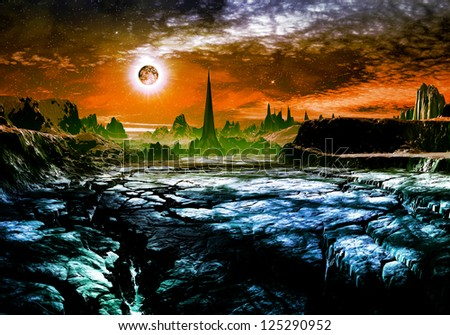 Derelict alien city in distance on cracked rocky landscape. - stock photo